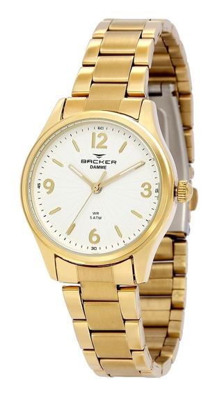 Relógio Feminino Backer Analógico 10264145f - Dourado