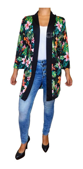 Sobretodo Kimono Corto Cardigan Moda Casual Flores Mujer