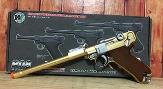 Airsoft Pistola Luger P08 Gold Full Metal Gbb - 2 Guerra Mod