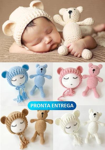 Kit Conjunt Fantasia Crochê Bebê Newborn Ursinho Touca Gorro