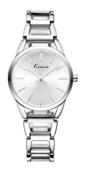 Relógio Prata Feminino Pulseira De Metal Redondo Kimio 6105