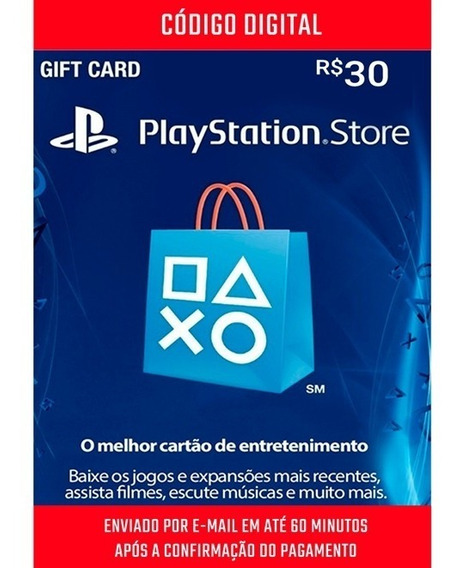 Cartão Playstation Br Brasil Psn R$30 Reais Plus Br