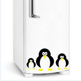 Adesivo Geladeira Pinguim Família