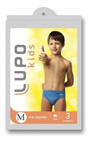 Kit C/ 3 Cuecas Infantil Lupo Slip 140 089 | Katy Calçados