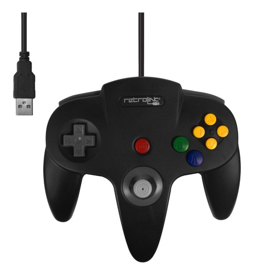 Controle Nintendo 64 N64 Preto Retrolink Usb Para Pc Ou Mac