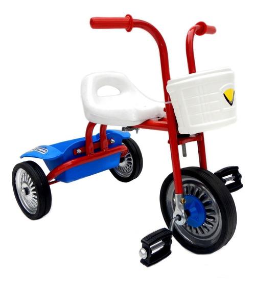 Triciclo Metal Chico Reforzado Ruedas De Goma Y Canasto