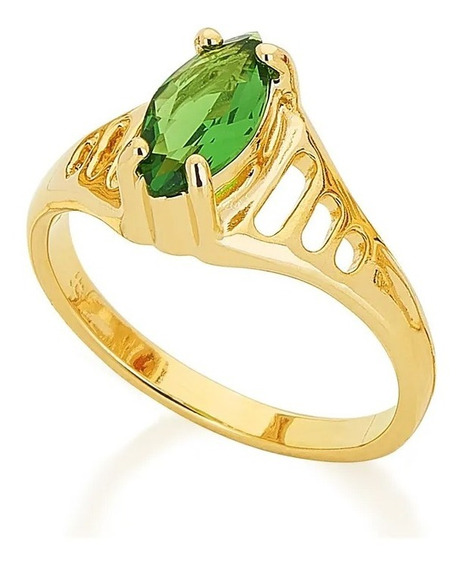 Anel Formatura Rommanel Feminino Zircônia Verde 511181 Lindo
