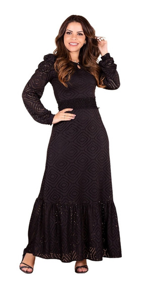 Vestido Longo Feminino Black Babados Manga Joyaly Moda