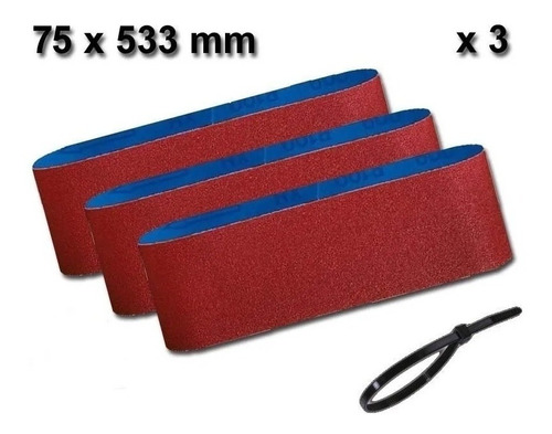 Imagen 1 de 6 de Set 3 Lijas De Banda 75x533 Grano 60 Bosch Lijadora + Regalo