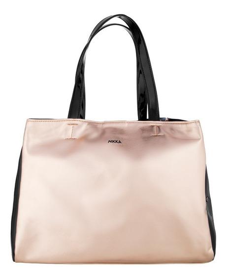 Cartera Bolso Mujer Tote Bag Metalizado Charol