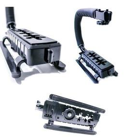 Suporte Mão Camera Dsrl Filmagem Led Flash Microfone Sapatas