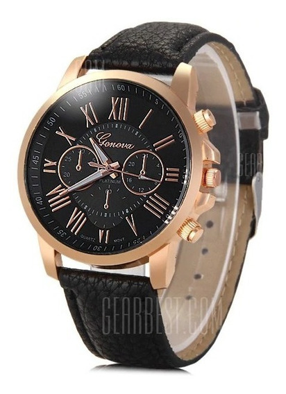 Relógio Feminino Geneva Fashion Quartz Pulseira Em Couro!