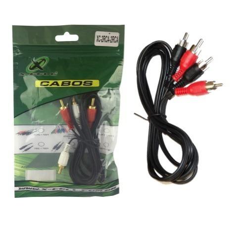 Kit 03 Unid. Cabo Rca X Rca 2 Vias Stereo 1.8m Xc-2rca-2rca