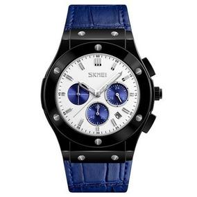 Relógio Masculino Skmei Moderno E Casual Pulseira Couro Azul