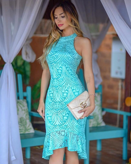 Vestido Festa Tiffany Midi Mullet Renda Floral Casamento M01