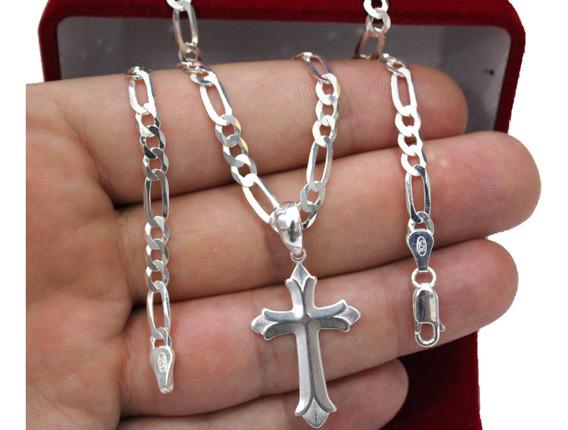 Cordão De Prata 925 Escama De Peixe Pingente Crucifixo 4,7mm