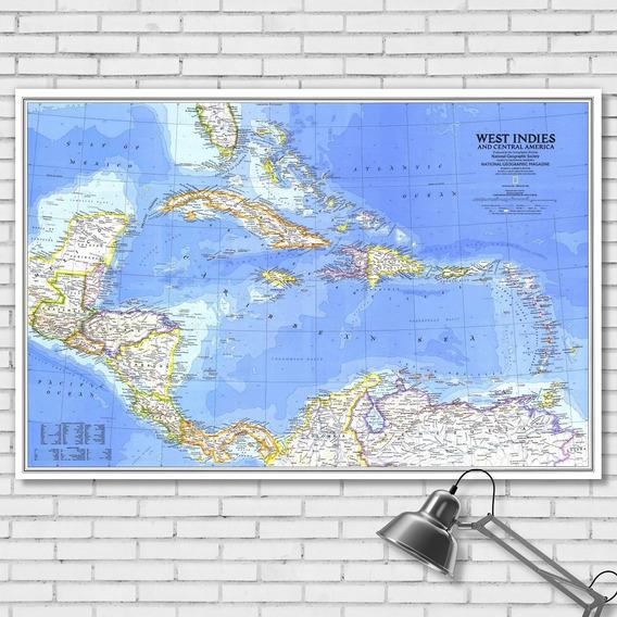 Mapa Político América Central E Islas Del Caribe 92cmx61cm