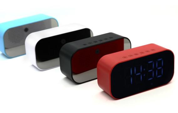 Caixa De Som Rádio Relógio Despertador Bluetooth Branco S5