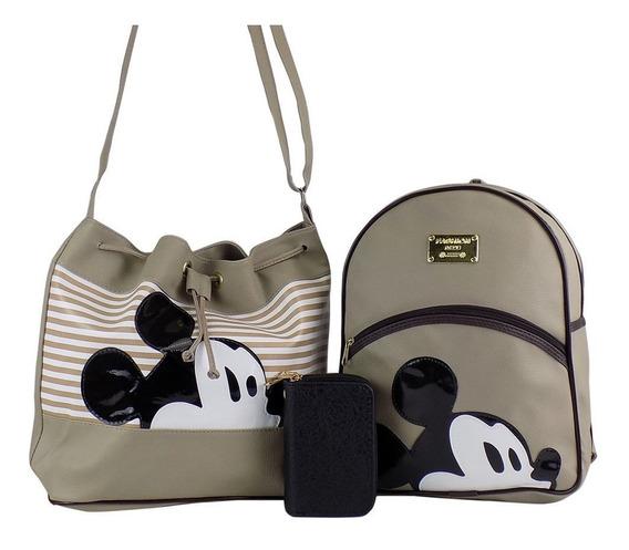 Kit Bolsa Saco Mickey + Carteira Couro + Mochila Mickey