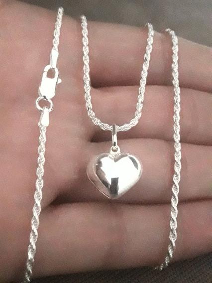 Cordão Baiano + Pingente Coração Em Prata 925 + Brinde !!