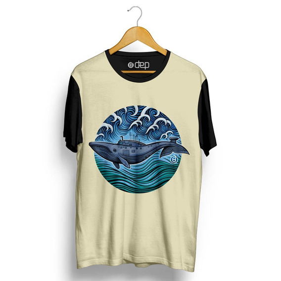 Camiseta Dep Baleia Azul / Bege