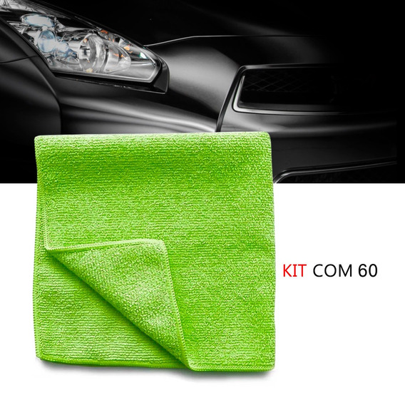 Kit 60 Pano Microfibra Automotiva Flanela Anti-risco Verde