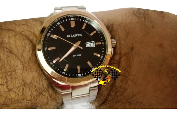 Relógio Masculino Atlantis G3197 Pulseira Aço Prata
