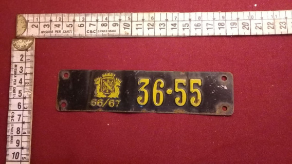 Plaqueta Licenciamento Licença 66/67 Placa Carro Antigo C4.7