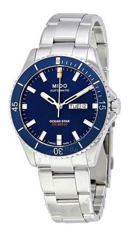Relógio Automático Mido Ocean Star Prata/azul Aço Diver