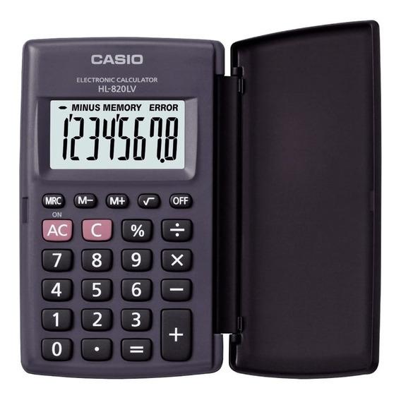 Calculadora De Bolso Casio Hl-820lv Preta C/ Tampa 8 Dígitos