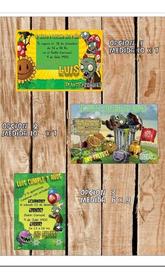 Tarjetas Invitacion Plantas Vs Zombies Souvenirs Para Tu