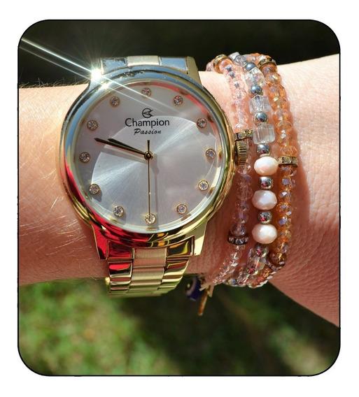 Relógio Champion Feminino Dourado Pedrinha Original