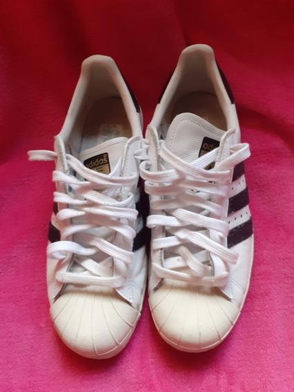 Zapatillas adidas Superstar Blanca C/ Tiras Negras De Gamuza