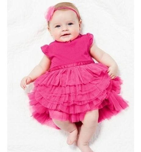 Vestido Roupa Infantil Bebê Menina Cor Rosa Pink + Brinde