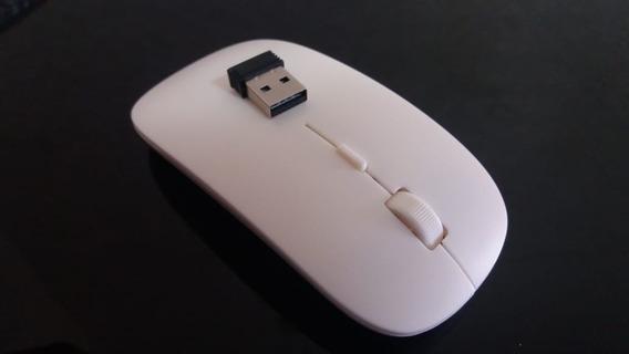 Mouse Óptico Ultra Fino Usb 2,4g Sem Fio Branco Gelo