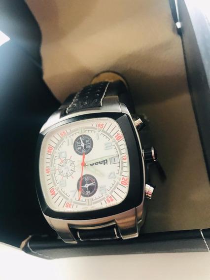 Relógio Jeep Pulseira Preta Couro 2043