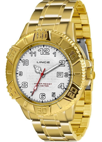 Relógio Masculino Lince Analógico Dourado 30m Mrg4334l-b2kx