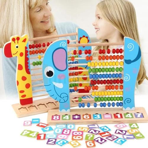 Imagen 1 de 5 de Ábaco Madera Elefante Juguetes Didácticos Montessori Números