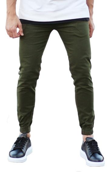 Pantalon Chupin Cargo Hombre Verde Elastizado Jogger