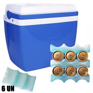 Caixa Térmica 26 Litros Azul Com Alça + 6 Gelos Gela Lata