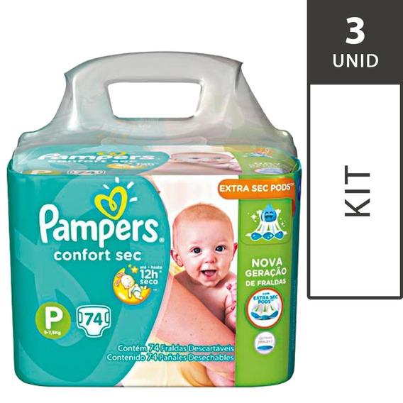 Kit Com 3 Fraldas Pampers Total Confort Sec P Super Pack-222
