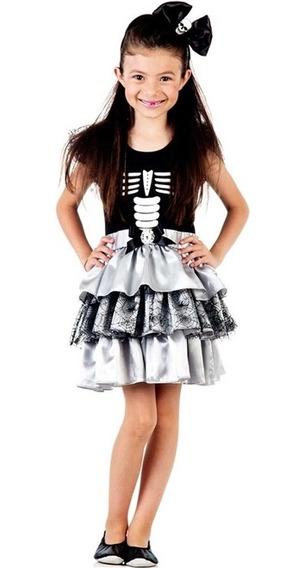 Roupa Para Halloween Esqueletinha Infantil C Tiara De 2 A 12