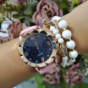 Relógio Feminino + Kit De Pulseiras