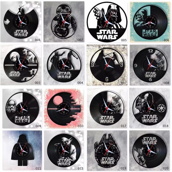 Star Wars Vários Modelos Geek Nerd Relógio Parede Vinil Lp