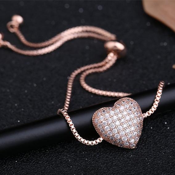 Pulseira Feminina Rosê Gold Coração Presente Namorada C1033