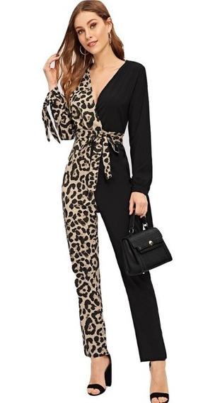 Jumpsuit Palazzo Mujer Leopard Palazos Elegantes Ropa Mujer