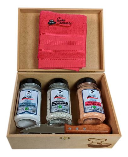 Imagem 1 de 5 de Kit Caixa De Mdf + 3 Parrillas +talheres-dom Chamorro