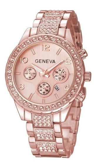 Relógio De Pulso Feminino Geneva Dourado Pulseira Com Strass