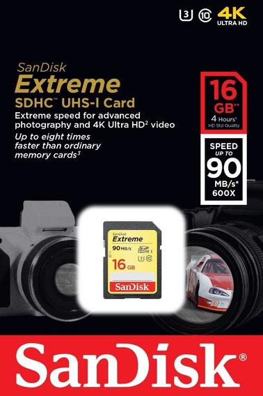 Cartão De Memoria Sd 16gb Sandisk Extreme 4k 90mb/s + Nota