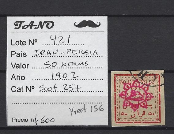 Lote421 Iran Persia 50 Krans Año 1902 Scott#257 Usad Dificil